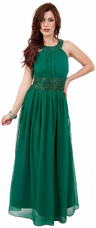 Roman Empire Long Formal Dress With Beaded Straps Amp Waist