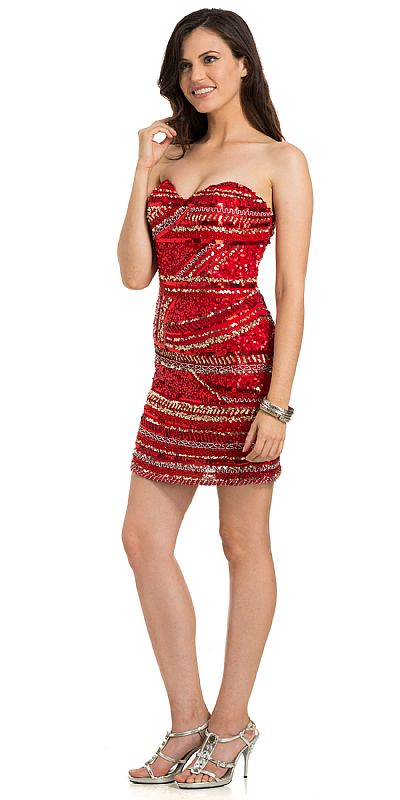 Strapless Sequined Short Prom Dress With Artistic Pattern 10119