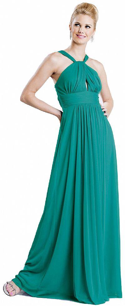 Halter Neck Tie Shirred Formal Bridesmaid Dress 11233