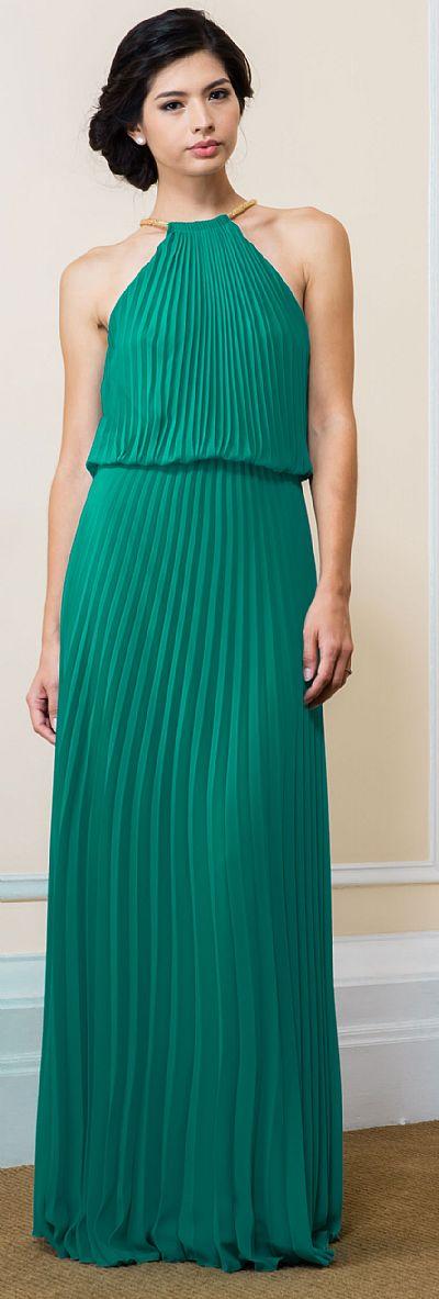Pleated Halter Neck Blouson Top Long Formal Dress 11531