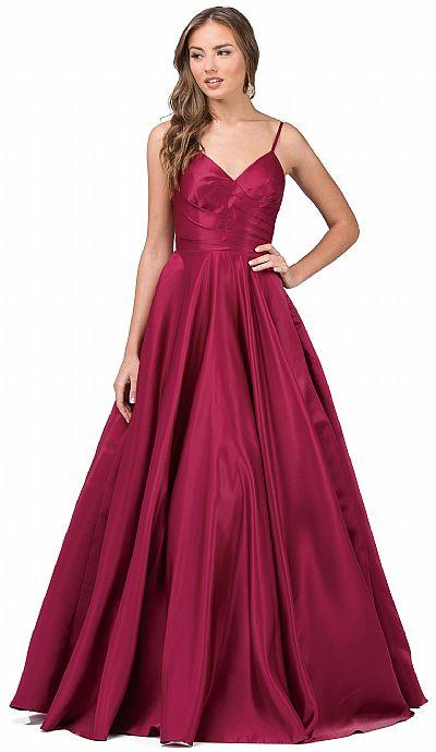 fafe9f9c V-Neck Adjustable Straps Pleated Bust Long Prom Dress p2339