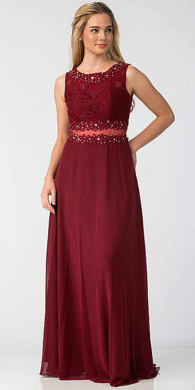 Mock Two Piece Lace Bodice Floor Length Prom Dress Sl6194