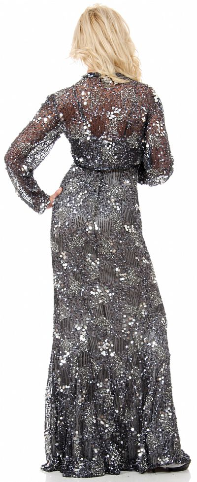 Exquisitely Beaded Long Formal Mob Dress With Jacket 10182