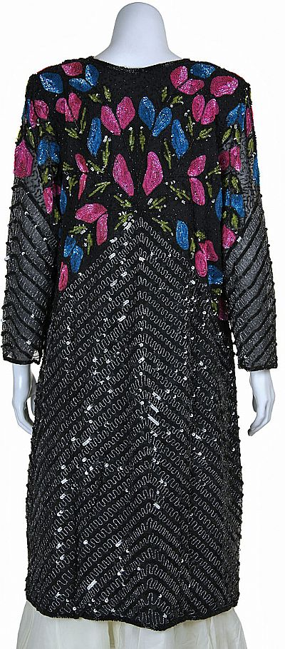 Long Beaded Jacket With Multi Colored Sequined Pattern 2217