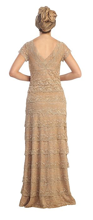 V Neck Cap Sleeves Tiered Lace Long Formal Evening Dress 45612