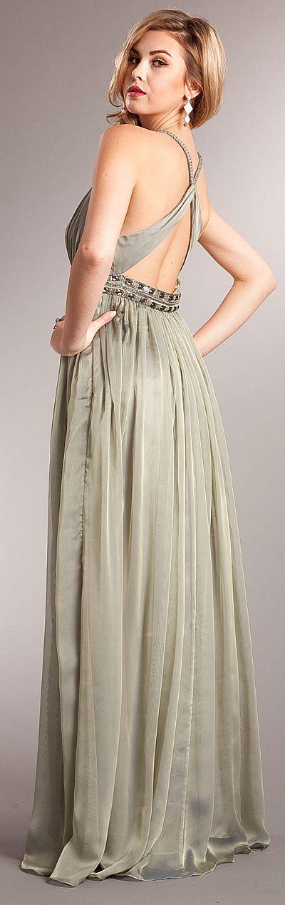 Deep V Neck Braided Straps Long Formal Prom Dress A229