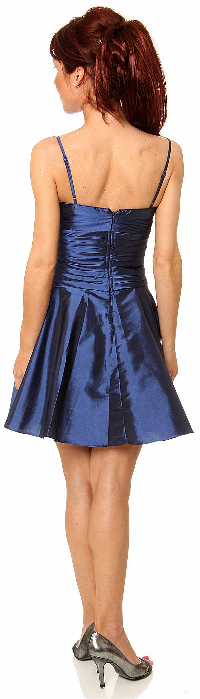 Shirred Bodice Short Party Dress With Bow Applique P8033