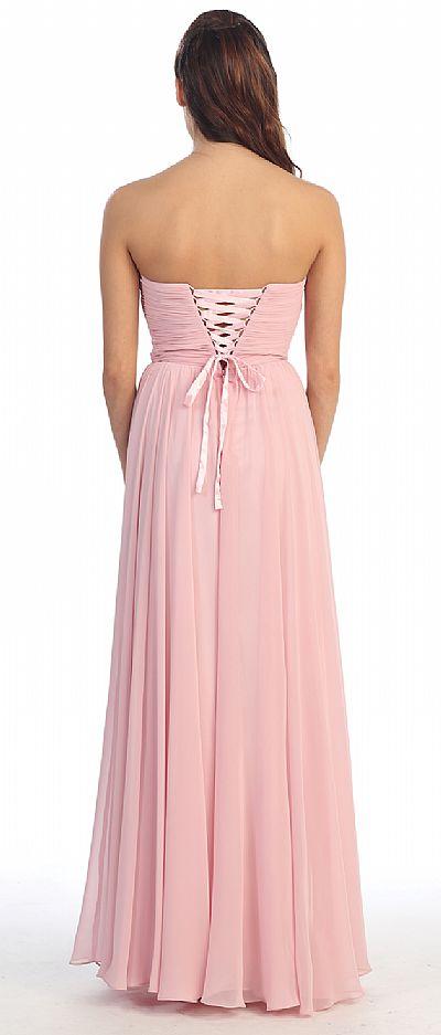 Strapless Rhinestone Bust Long Formal Prom Dress P8693