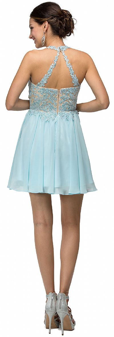 Short A-Line, Beaded Bodice Prom Dress - PromGirl