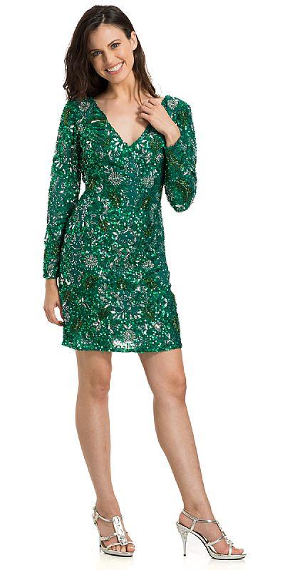 V-Neck Full Sleeves Short Sequin Beaded Party Prom Dress 10148