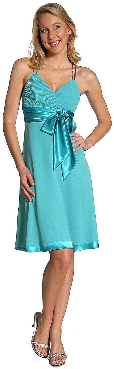 Spaghetti Strap Shirred Satin Bow Party Dress 11125