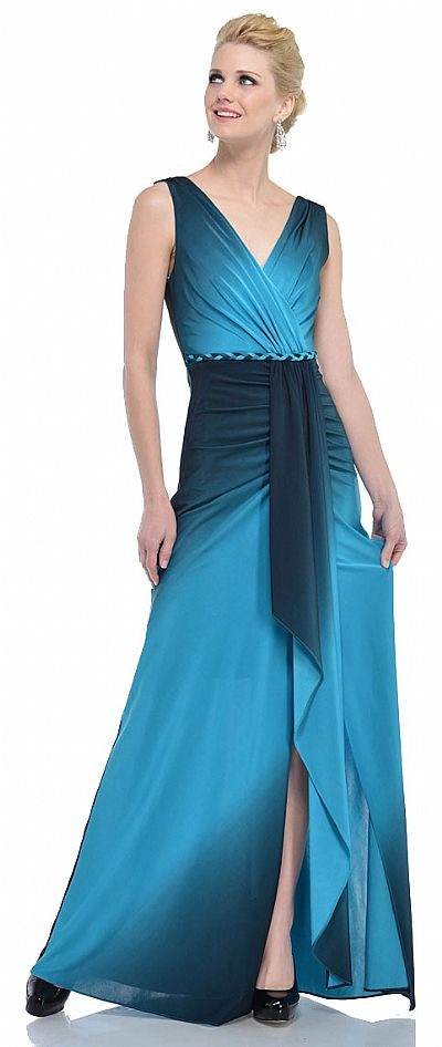 V Neck Wrap Style Ombre Formal Dress With Front Sash 11342