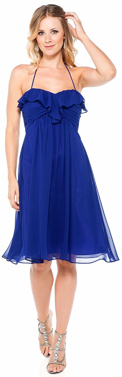 Halter Neck A Line Medium Length Party Dress 11344