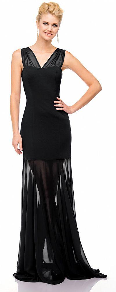 V Neck Floor Length Sheer Skirt Formal Evening Dress 11412