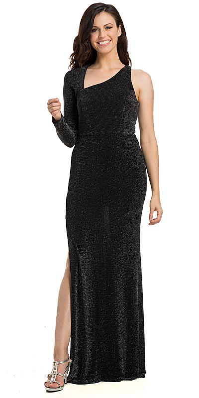 6c3e2e90cb4c Main image of Single Long Sleeve Glittery Lurex Formal Evening Dress