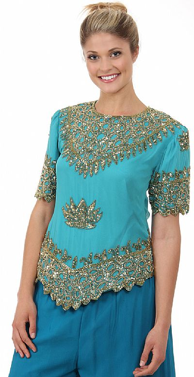 Formal Hand Beaded Blouse 1276