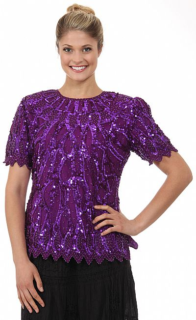 Round Neck Half Sleeves Sequined Blouse 4263