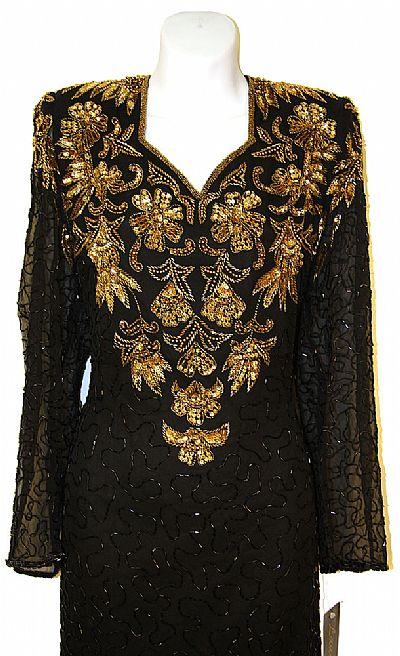 Full Sleeves Below Knee Length Sequined Formal Dress 7712