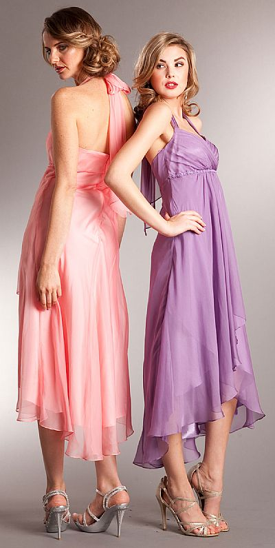 Halter Neck Wrap Around High Low Bridesmaid Party Dress A629