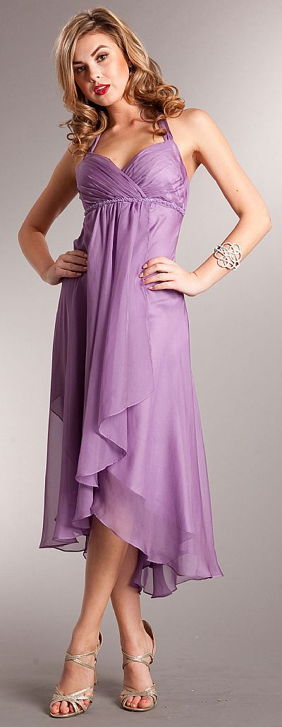 Halter neck wrap around high low bridesmaid party dress a629 for Around the neck wedding dresses