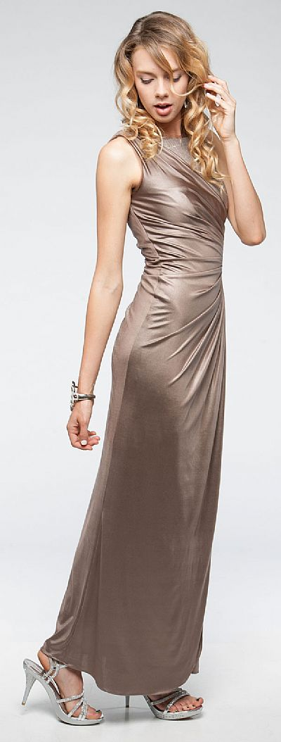 Sleeveless Wrap Around Style Shimmery Long Formal Prom