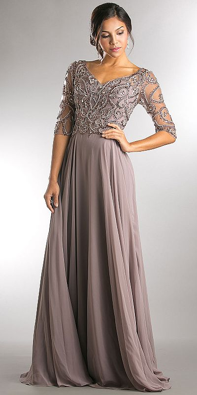 V Neck Beaded Top Half Sleeves Long Mother Of Bride Dress A746