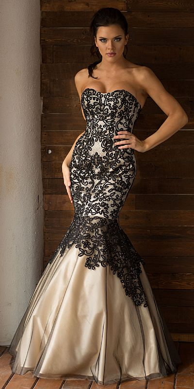 Strapless Ribbon Pattern Mesh Mermaid Long Prom Dress a762