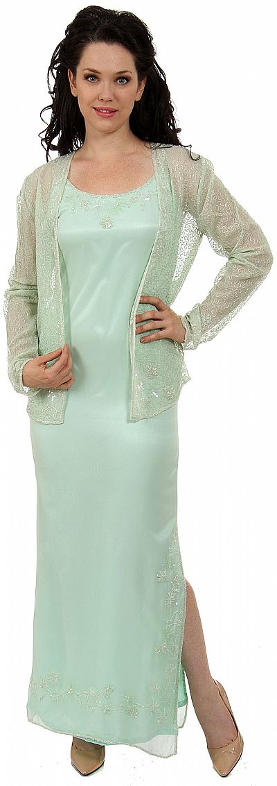 Long Formal Beaded Dress With Matching Jacket D1028
