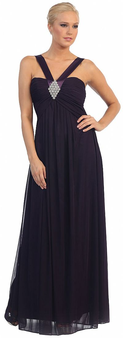 Halter V Neck Empire Cut Formal Evening Dress P7771