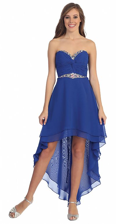 Strapless High Low Formal Prom Dress with Twist at Bust p8535