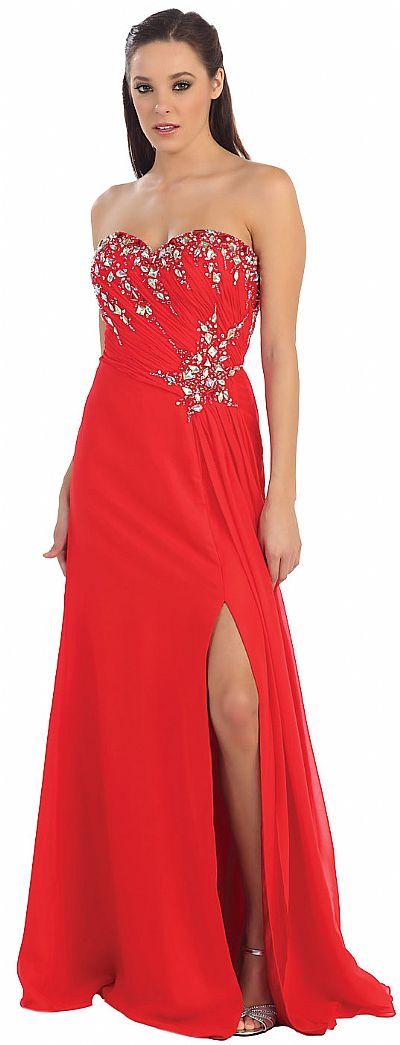 Strapless Rhinestones Bust Long Formal Prom Dress P8642