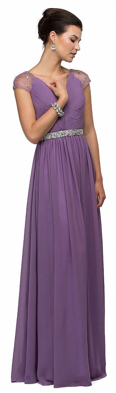 V-Neck Pleated Jewels Waist Long Formal Bridesmaid Dress p9182
