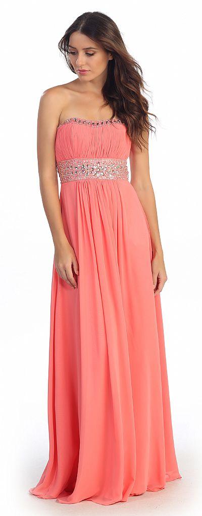 Strapless Beaded Waist Empire Cut Long Formal Dress S546