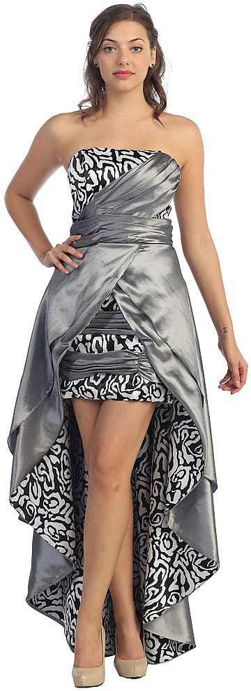 Elegant Strapless High-Low Prom Dress with Layered Skirt s8054
