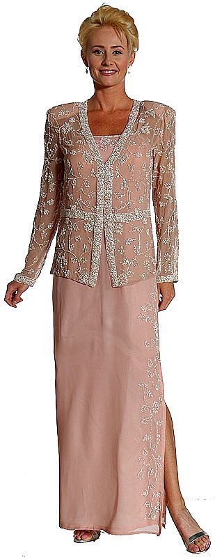 2 Piece Beaded Formal Dress And Jacket 1036
