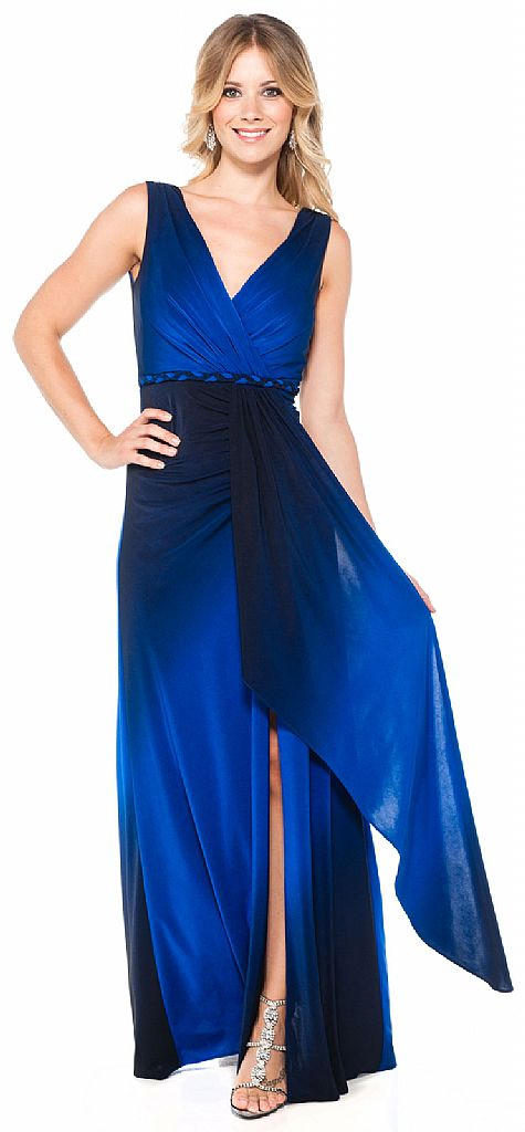 V Neck Wrap Around Formal Ombre Dress With Front Sash 11342