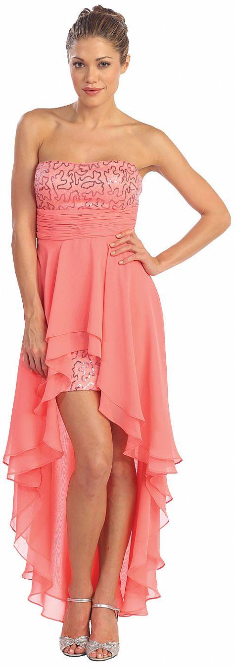 Elegant high low prom dress with asymmetrical hem p8402 for Wedding dresses asymmetrical hemline
