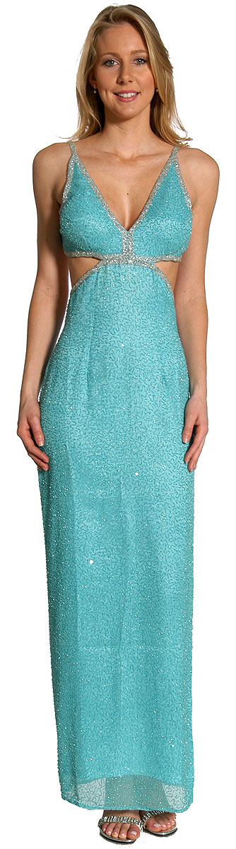 Full length sequin prom dress with open back. The back has bra-style closure