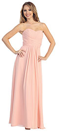 Wholesale Prom Dress item 45460. Strapless Ruched Bodice Long Formal Bridesmaid Dress. Strapless Ruched Bodice Long Formal Bridesmaid Dress. Sweetheart neckline with shirred & crossed style waistband at front and back also. This dress can be used as bridesmaid dress or on any kind of formal occasion. Back zipper closure. Imported.