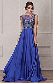 Wholesale Prom Dress item a238. Embellished Sheer Top Long Prom Pageant Satin Dress.
