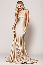 Wholesale Prom Dress item a384. Halter Neck Empire Charmeuse Prom Dress.