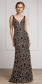 Wholesale Prom Dress item a461. Decollete Neckline Geometric Prom Gown.