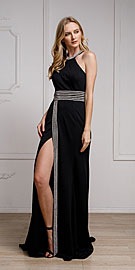 Wholesale Prom Dress item a470. Halter Neck Formal Prom Gown with Front Slit.