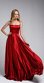 Wholesale Prom Dress item a472. A-Line Spaghetti Prom Gown with Long Flowing Skirt.
