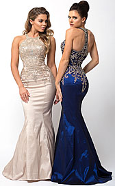Wholesale Prom Dress item a564. Embellished Bodice Round Neck Fit-n-Flare Long Prom Dress.