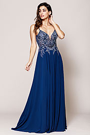 Wholesale Prom Dress item a594. Rhinestone Long Prom Dress with Spaghetti Straps.