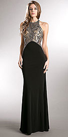 Wholesale Prom Dress item a742. Sleeveless Alluring Beaded Bodice Long Evening Prom Dress. Sleeveless Alluring Beaded Bodice Long Evening Prom Dress. High scoop neck mesh bodice has an elegant beaded & rhinestones pattern all around giving this formal occasion dress a sophisticated look. Sheer mesh beaded back with flared jersey skirt having side zipper closure. Imported.