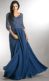 Wholesale Prom Dress item a746. V-Neck Beaded Top Half Sleeves Long Mother of Bride Dress.