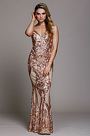 Wholesale Prom Dress item a791. Fitted Silhouette Sequin Prom Gown.