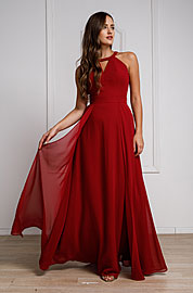 Wholesale Prom Dress item a826. High Round Neck Princess Cut Long Bridesmaid Dress.